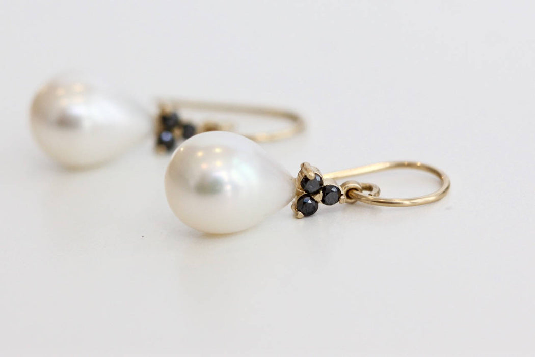 Pearl and Black Diamonds Earrings in 14k Yellow Gold