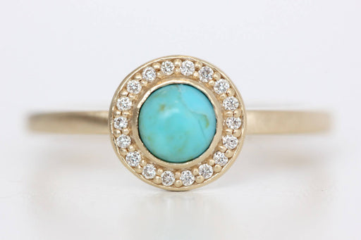 Kingman Turquoise Ring in Recycled 14k Gold and Diamond Halo