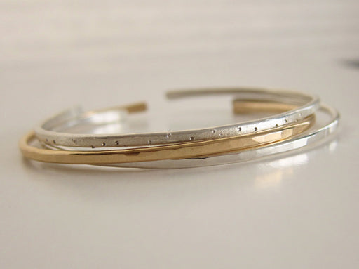 Silver and Gold Stacking Cuffs Set of 3