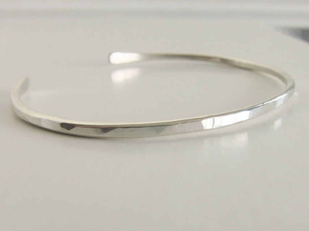 Sterling Silver Cuff Bracelet Hammered Texture