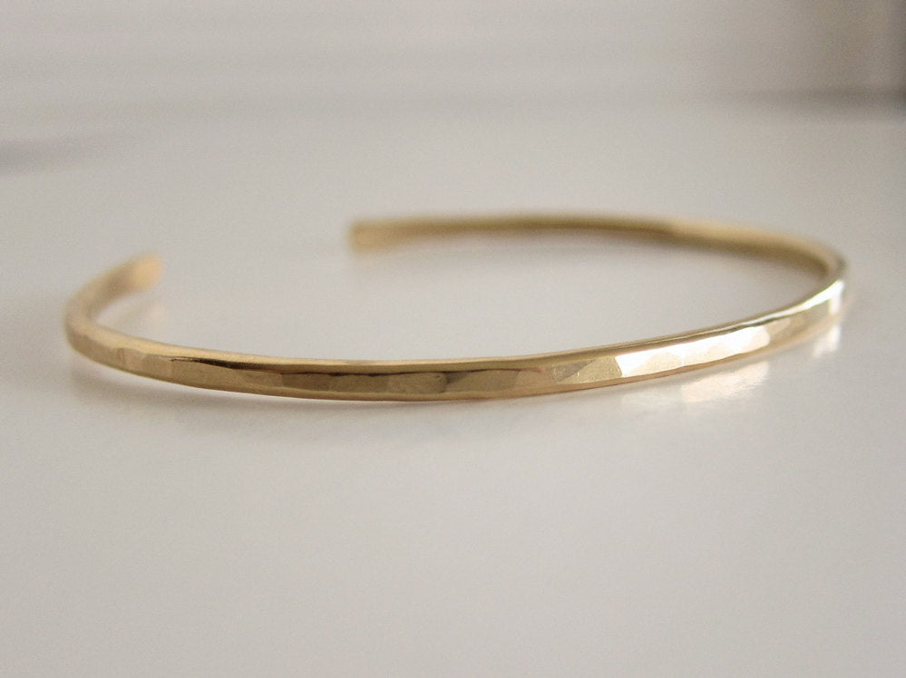 Gold Cuff Bracelet in Hammered Finish - Rose or Yellow
