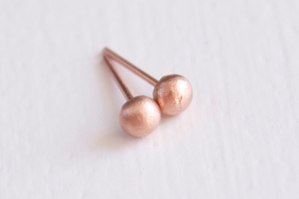Recycled 14k Rose Gold Post Earrings Brushed Finish Organic Studs
