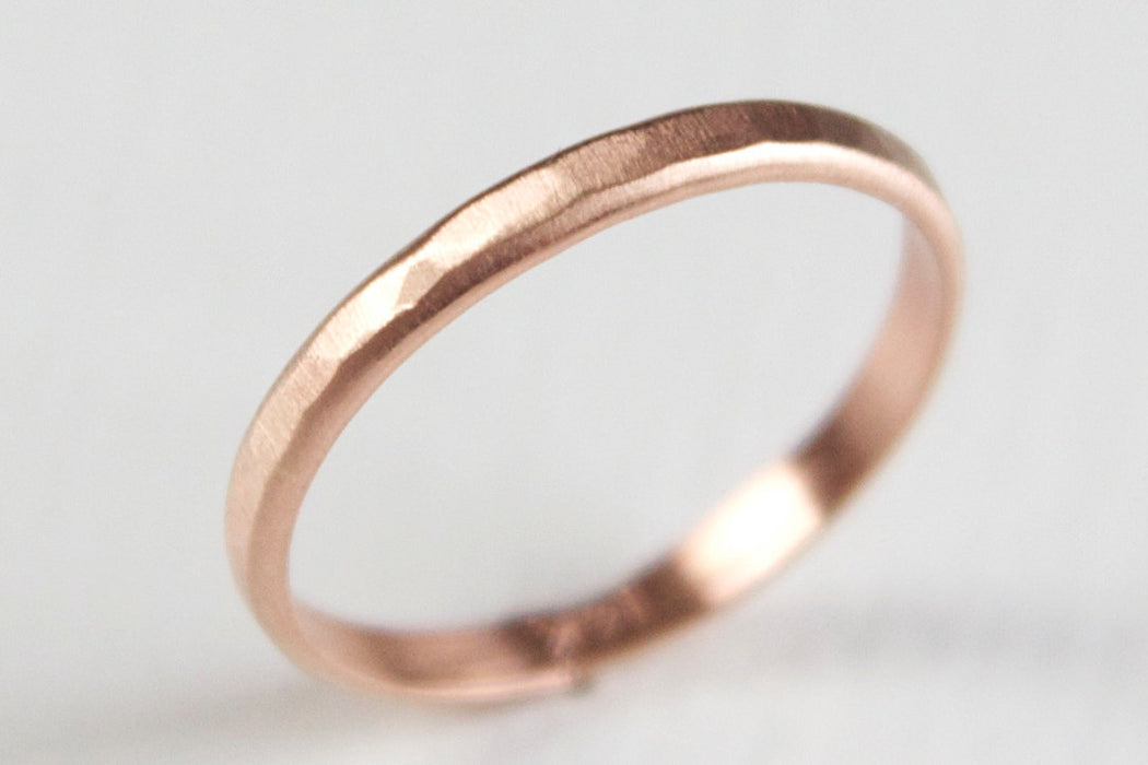 14k Gold Textured Ring - Hammered Wedding Band with Matte Finish