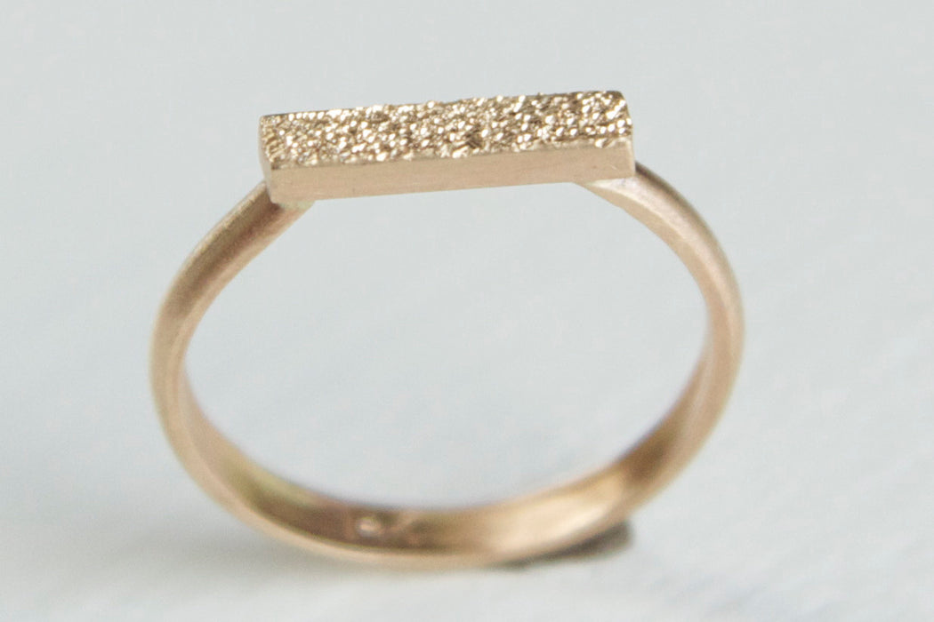 14k Gold Bar Ring - Pave Finish