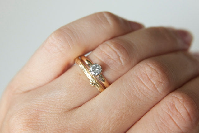 Diamond Engagement Ring in Recycled 14k White and Yellow Gold