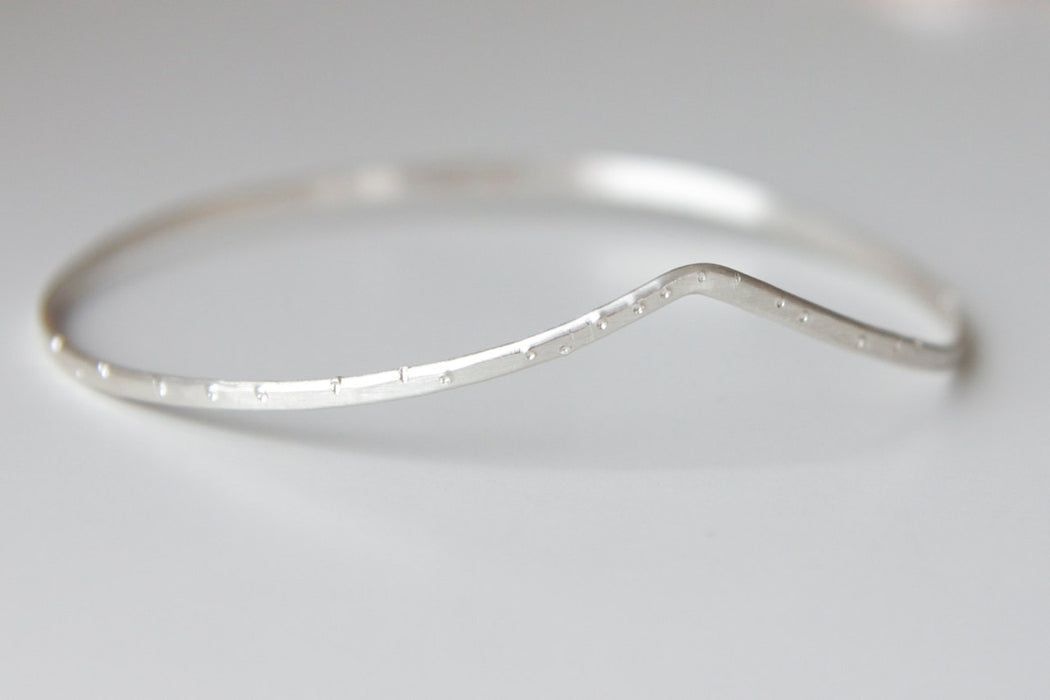 Drift Bangle Bracelet in Recycled Sterling Silver with Shimmer Finish