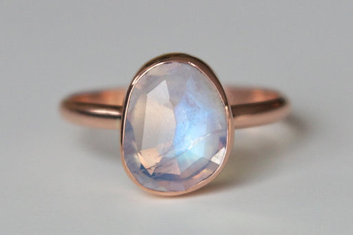 Freeform Rosecut Rainbow Moonstone Ring in 14k Gold