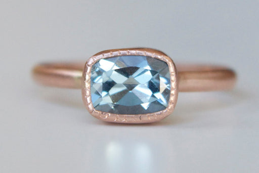 Aquamarine Ring in 14k Rose Gold