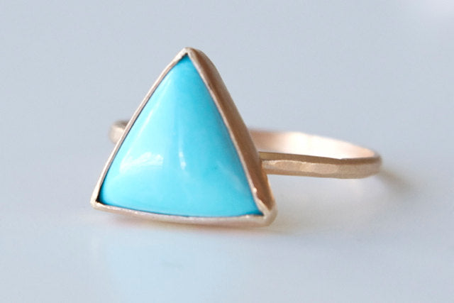 Triangle Turquoise Ring in Recycled 14k Gold