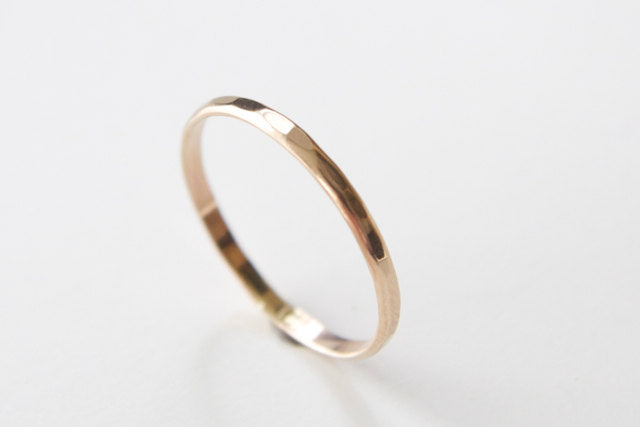 14k Solid Gold Textured Ring - Dainty Recycled Wedding Band and Stacking Ring