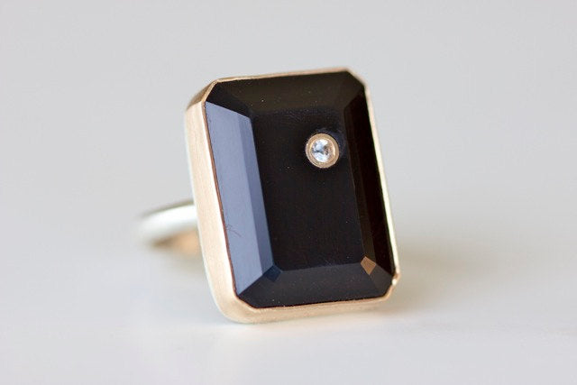 Black Onyx Ring - White Sapphire Inlay - Recycled 14k Gold and Sterling Silver Band
