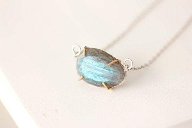 Labradorite Necklace in 14k gold and sterling silver