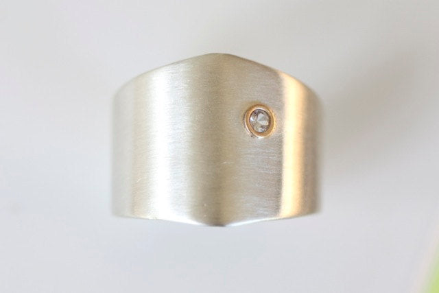 Shield Ring in Recycled Sterling Silver - 14k Gold White Sapphire Accent