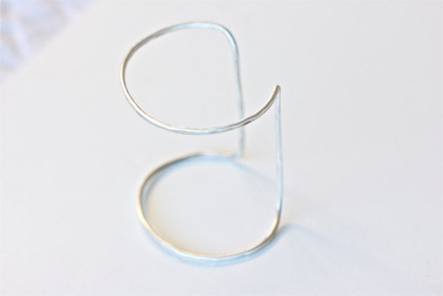 Double Cuff Statement Bracelet in Recycled Sterling