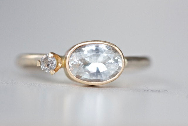 Oval White Sapphire and Diamond Ring in 14k Recycled Yellow and White Gold