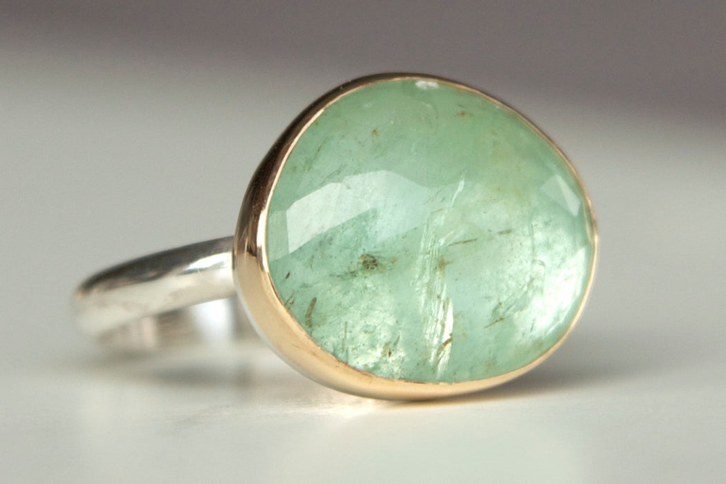 Colombian Emerald Ring in Recycled 14k Gold and Sterling Silver