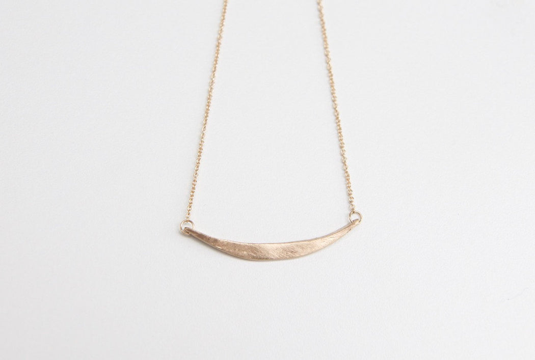 Crescent Necklace in Solid 14k Gold