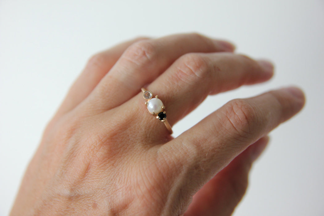 Pearl Black Spinel and White Sapphire Ring - 3 Stone Ring in Solid 14k Gold