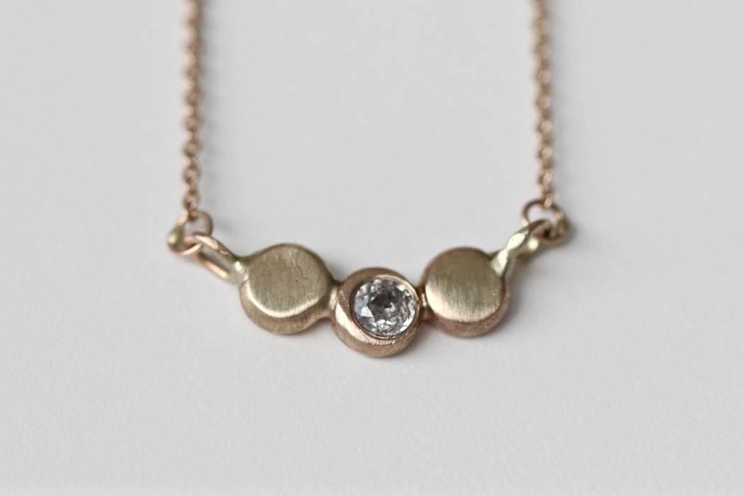 Diamond Pebble Necklace - 14k Solid Gold Necklace