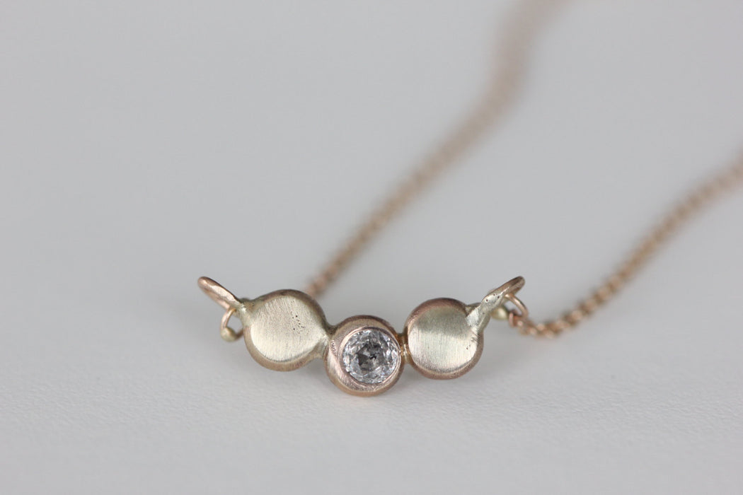 Diamond Pebble Necklace in Recycled 14k Gold