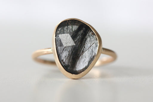 Tourmalated Quartz Ring in 14k Gold