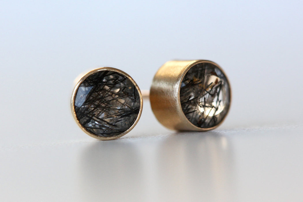 Black Tourmalated Quartz Stud Earrings in Recycled 14k Gold