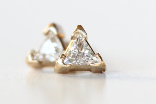 Triangle Diamond Stud Earrings in 14k Yellow Gold