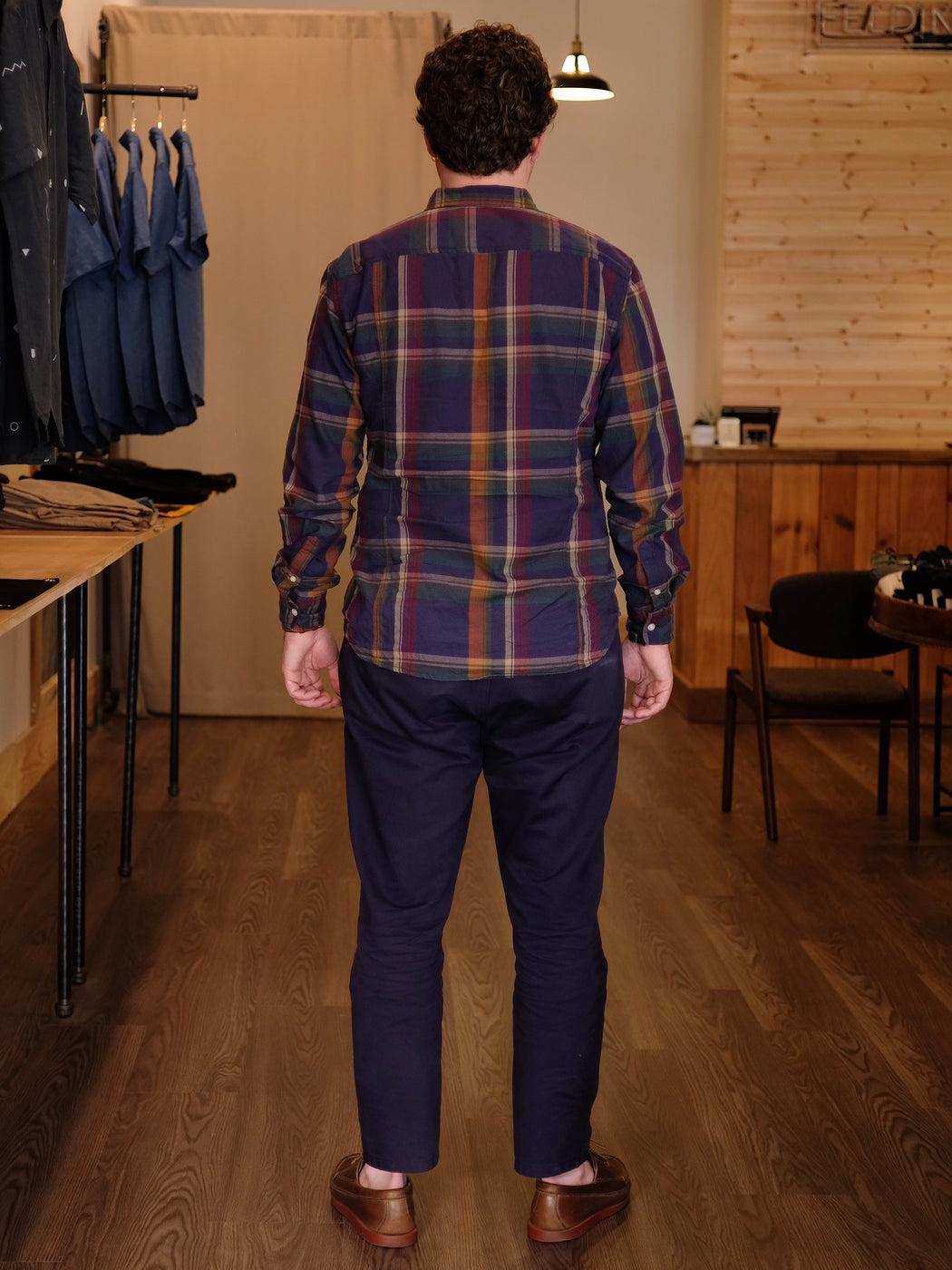 Perfect Navy Madras Long Sleeve Shirt, Corridor, - Felding Co