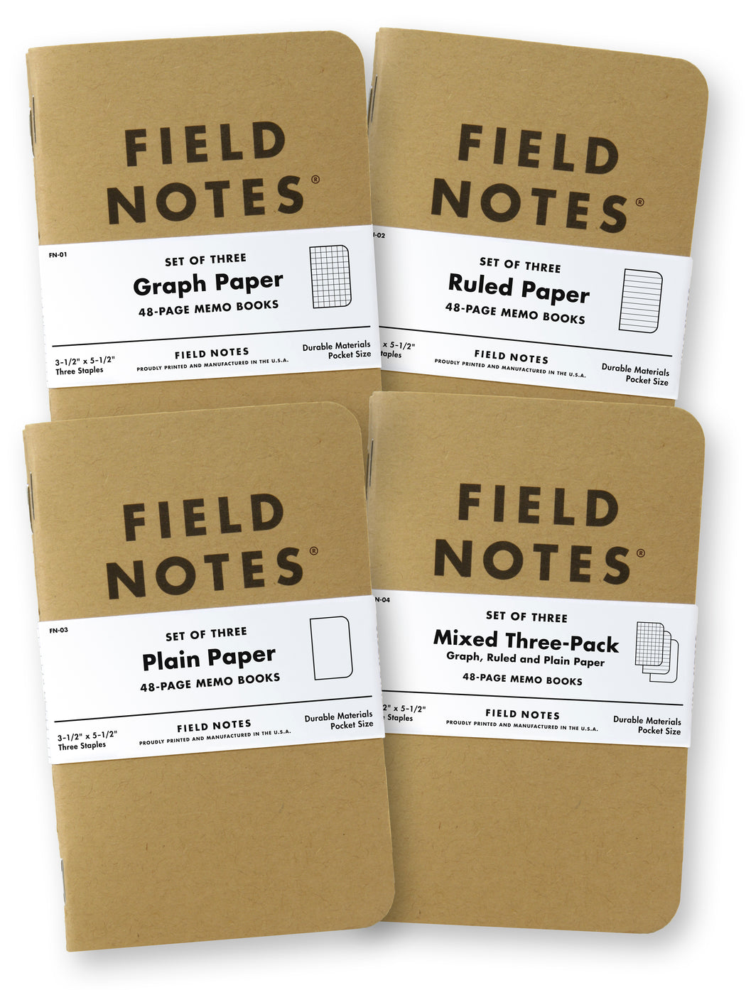 Field Notes Original Kraft Memo Book in Plain, Mixed, Ruled, and Graph.