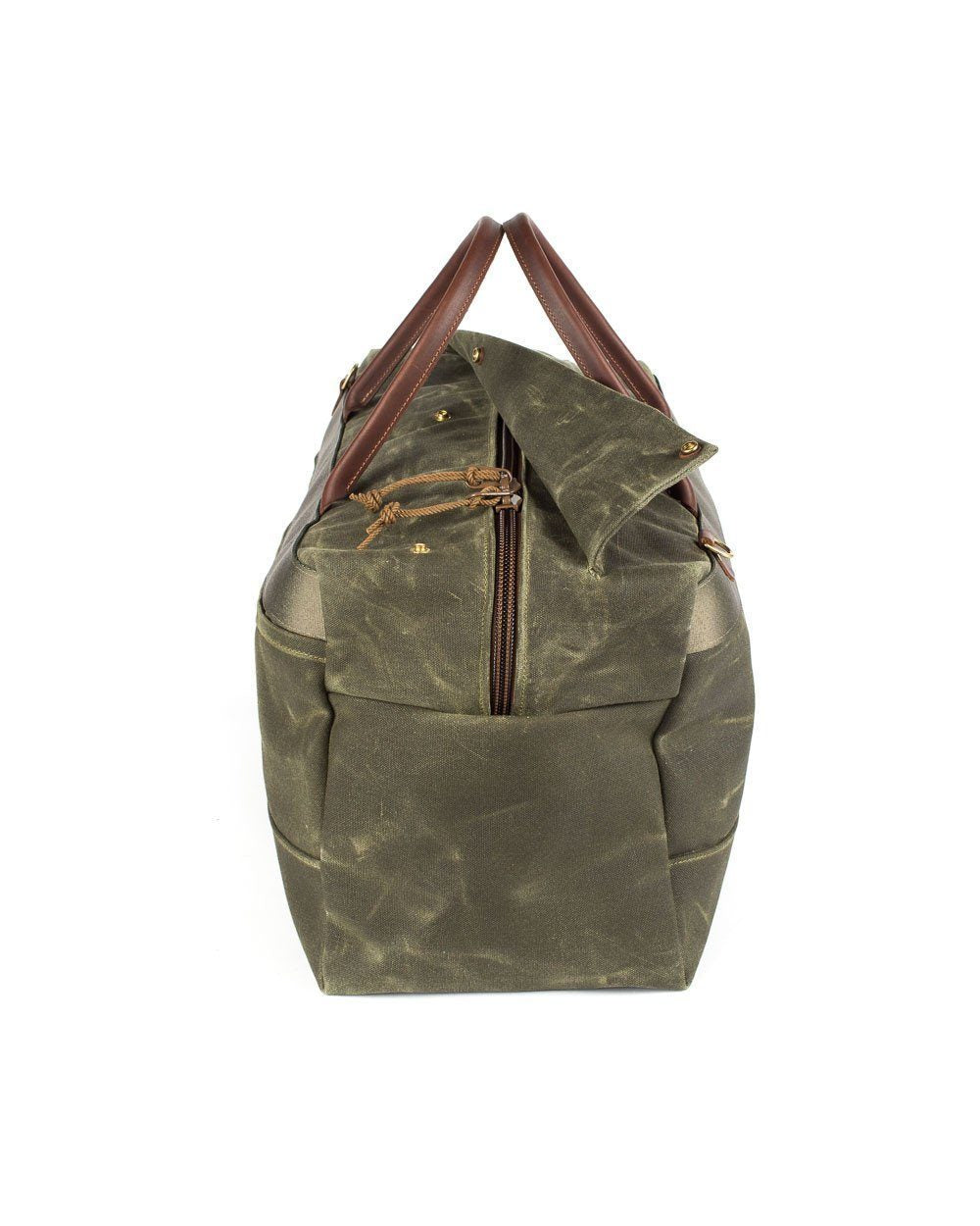Wood & Faulk Grand Tourer Duffel in Balmoral Moss, waxed canvas, weekender