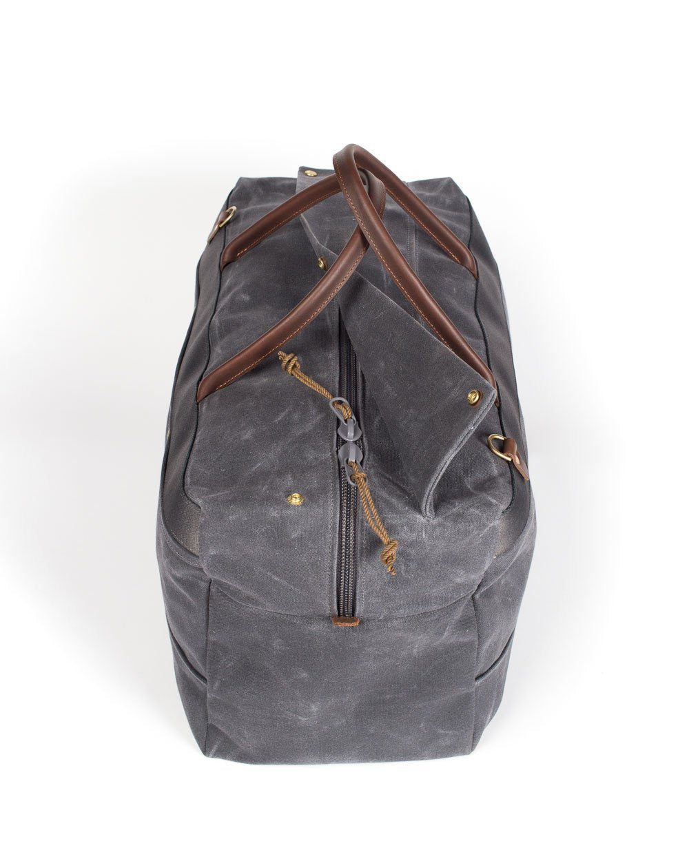 Wood & Faulk Grand Tourer Duffel in Cambrian Slate, waxed canvas, weekender