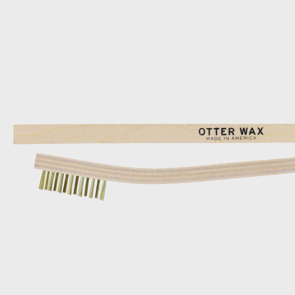 Otter Wax Brass Scrub Brush perfect for nubuck/suede or extreme leather cleaning.