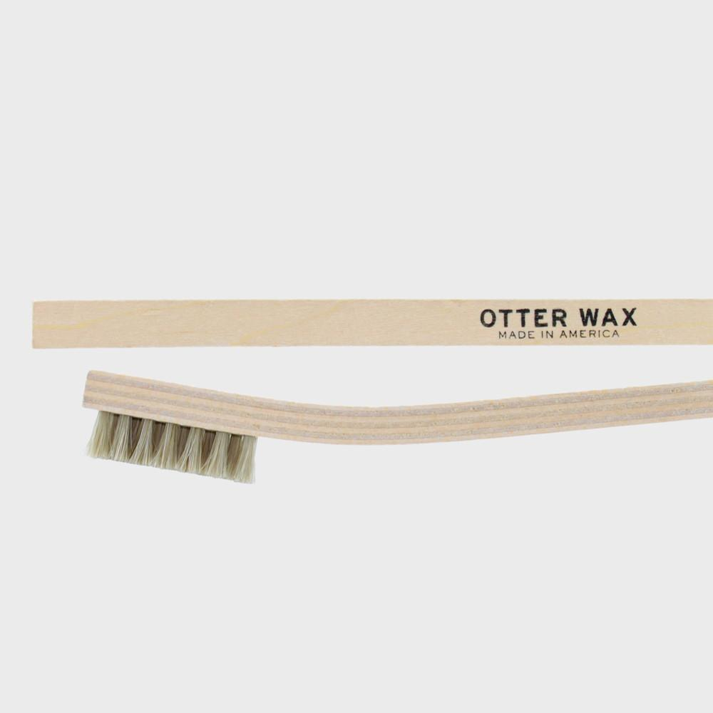 Otter Wax Horsehair Buffing Brush perfect for shining up leather boots.