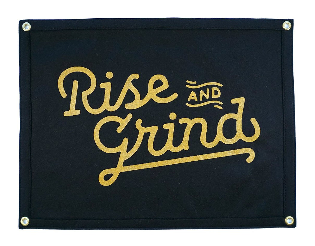 Rise & Grind Camp Flag, Oxford Pennant, - Felding Co