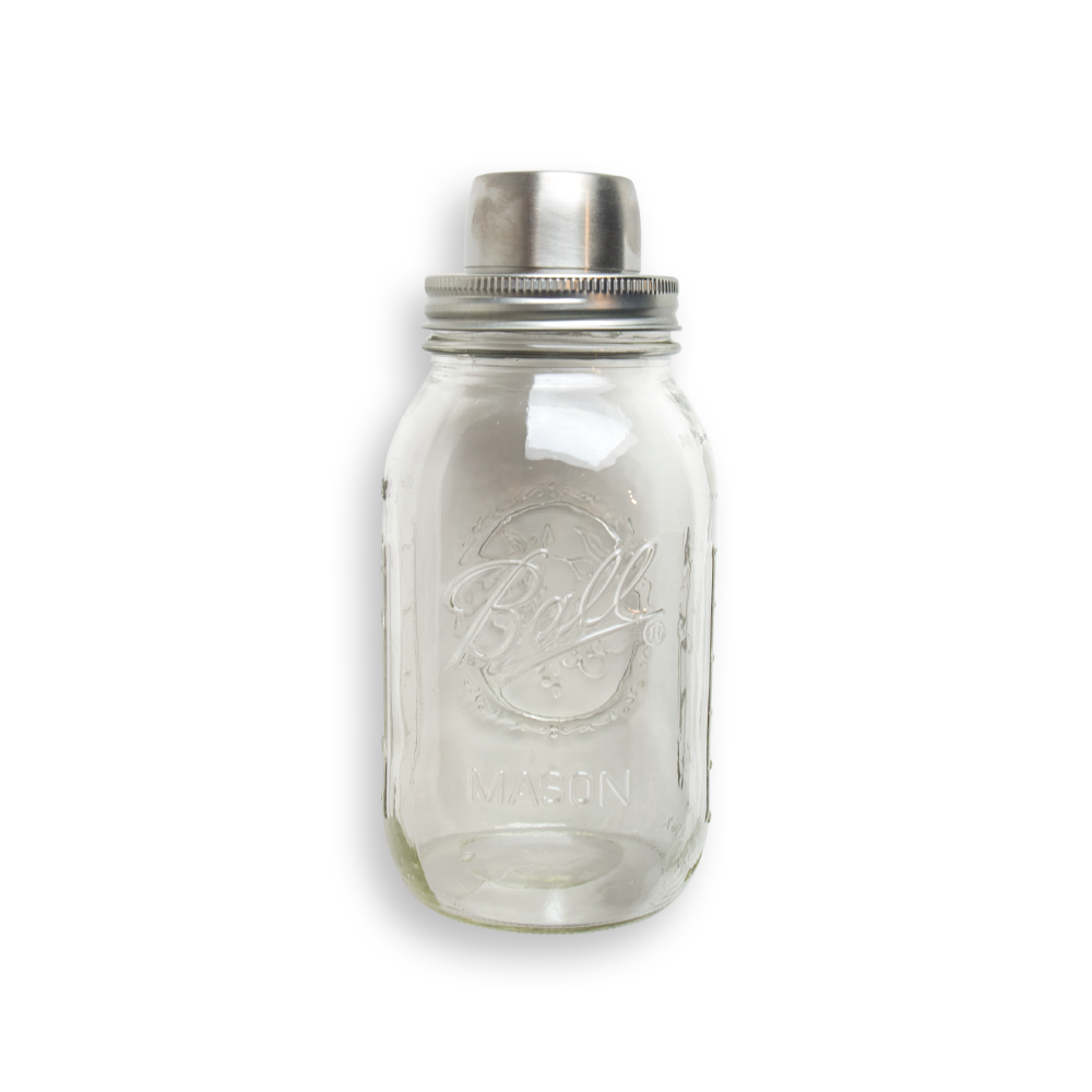 Classic Mason Jar Cocktail Shaker, made of stainless steel. Great for whiskey or bourbon cocktails.