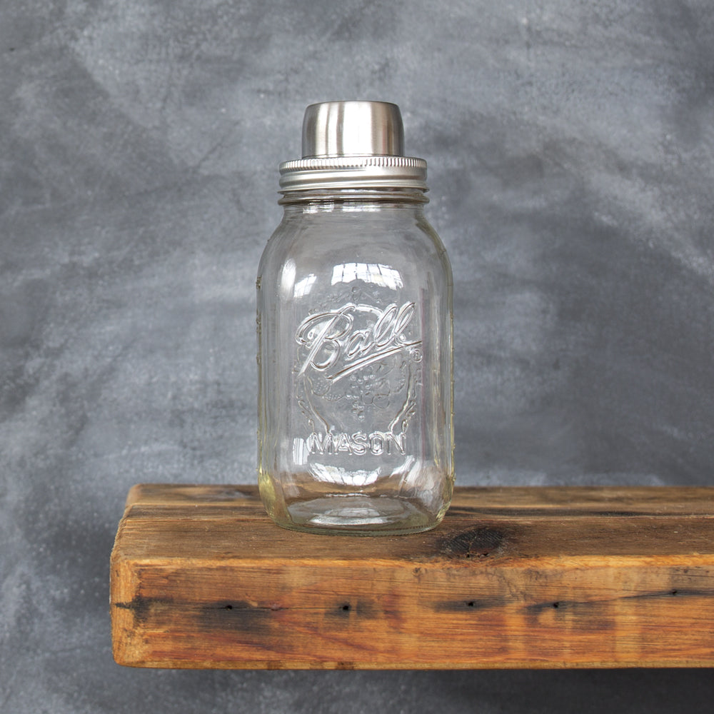 Classic Mason Jar Cocktail Shaker, made of stainless steel. Great for whiskey or bourbon cocktails