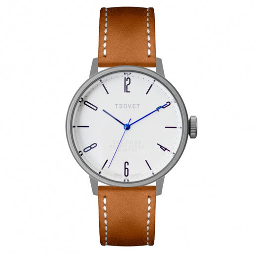 Tsovet Watch SVT-CN38 White Face/Tan Leather/Blue Hands CN110111-40