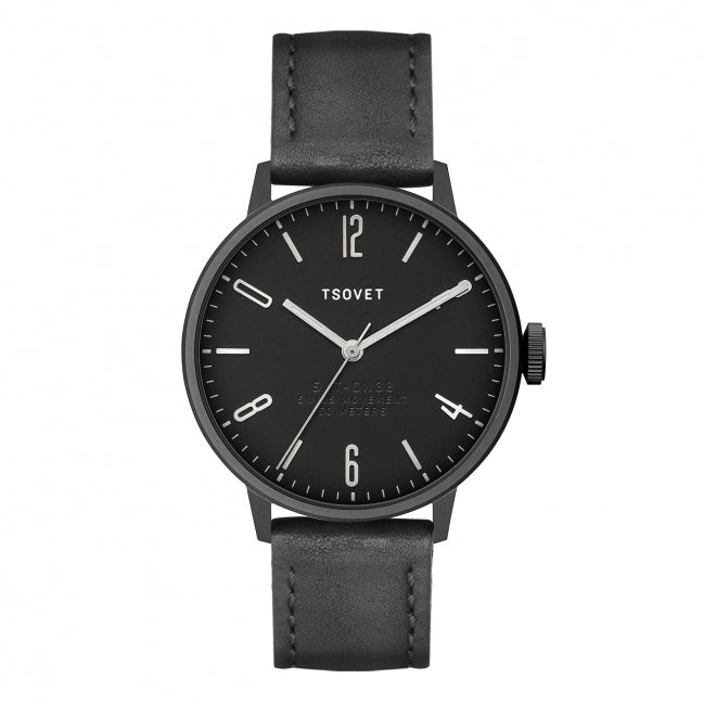 Tsovet Watch SVT-CN38 Black Face/Black Leather/Stainless Hands CN331010-01