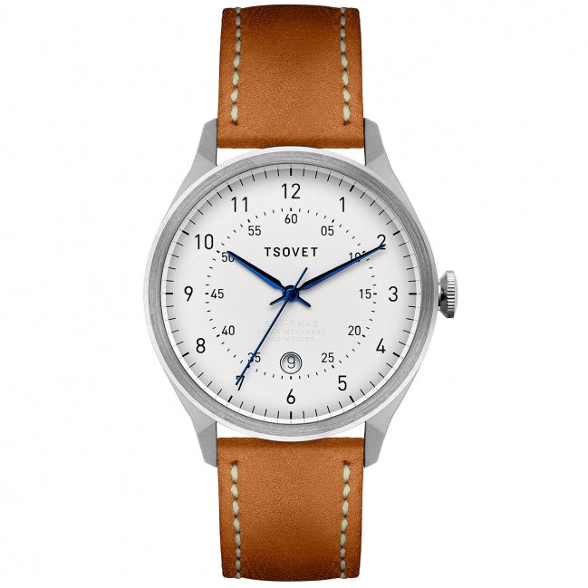 Tsovet Watch SVT-RM40 White Face/Tan Leather/Blue Hands RM111513-40