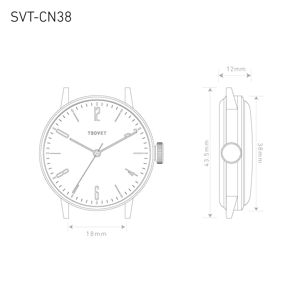 Tsovet Watch SVT-CN38 Size