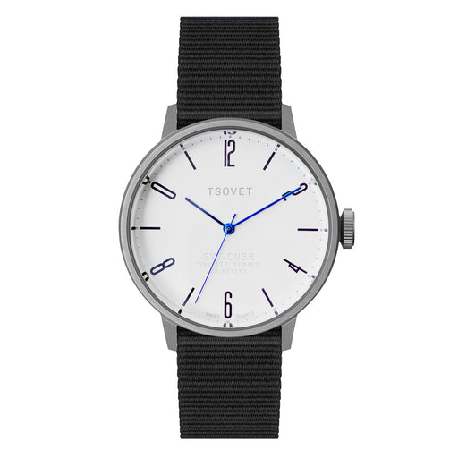 Tsovet Watch SVT-CN38 White Face/Black Webbing/Blue Hands CN110198-40
