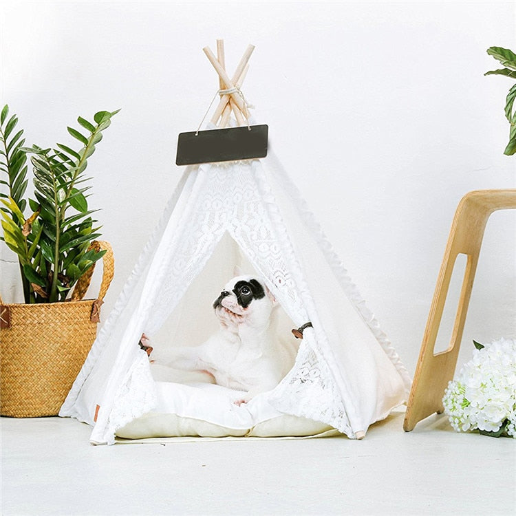 Kawaii White Lace Dog Tent