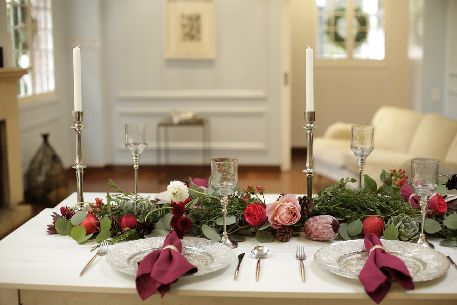 Pre-arranged Holiday Garland Centerpiece + Extra stems - Enjoy Flowers