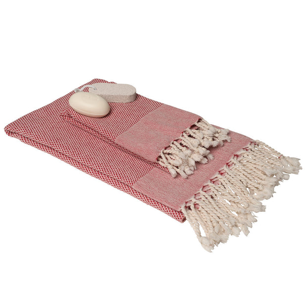 Rain Lily Bath & Hand Towel Gift Set - Red