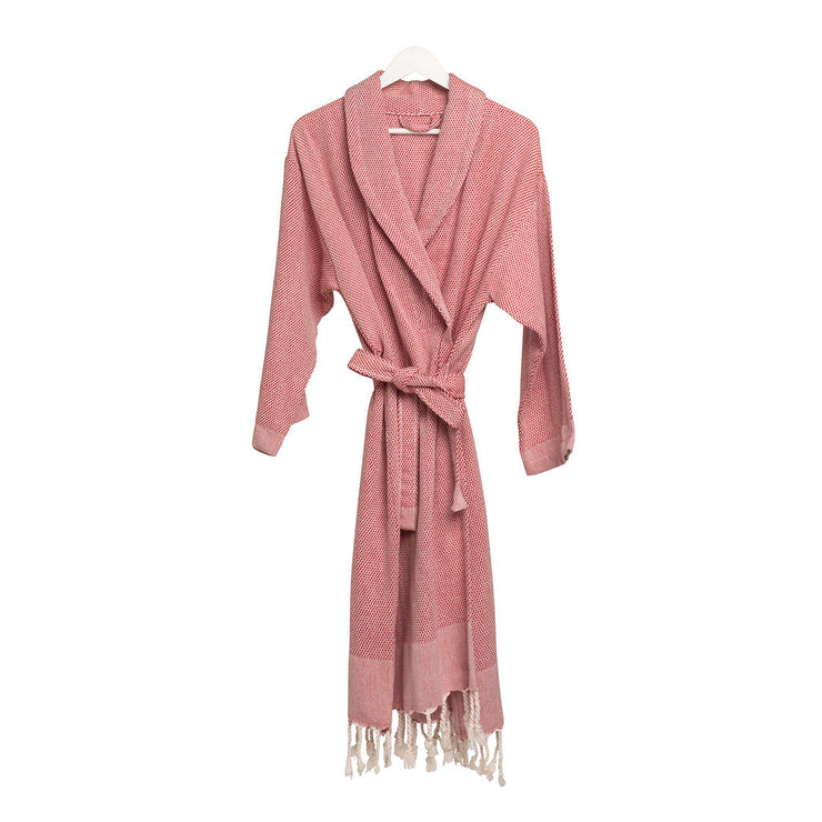 Set of Rain Lily Bathrobe, Bath Towel & Hand Towel - Red
