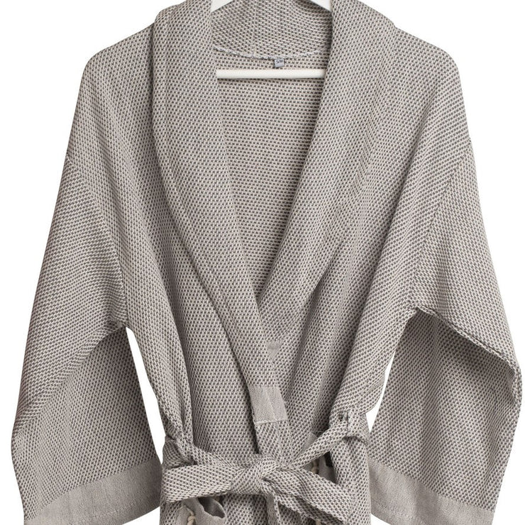 Set of Rain Lily Bathrobe, Bath Towel & Hand Towel - Grey