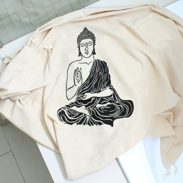 Bellaqua 100% Cotton, Buddha printed turkish towel, peshtemal, yoga towel, black print on natural fabric