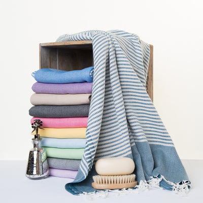 Bellaqua 100% Bamboo, super soft, absorbent and lightweight colorful Turkish peshtemal towel with stripes and stitches.