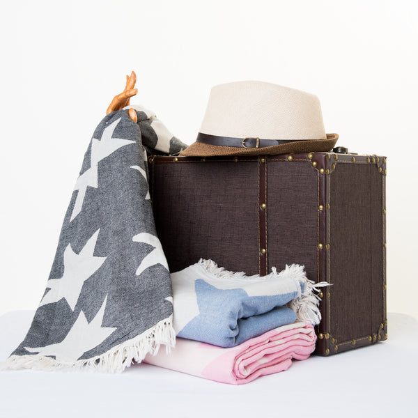 100% cotton, star designed, jacquard, absorbent and lightweight turkish peshtemal towels in colors pink, blue and black