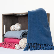 100% cotton, absorbent, lightweight, stonewashed turkish peshtemal towel in pink, navy and light grey